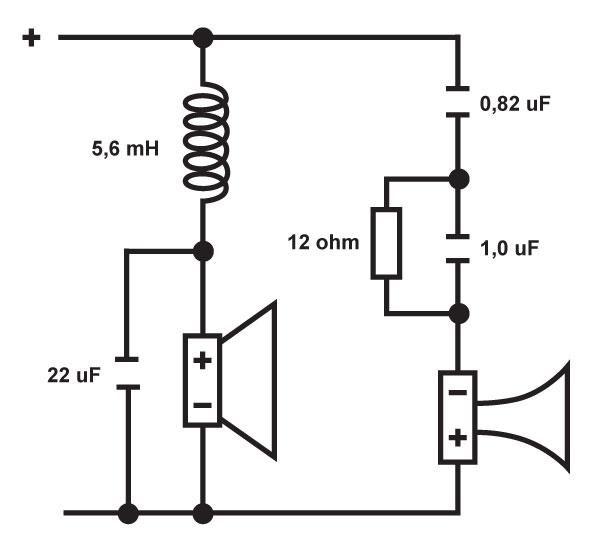 Jakosuotimessa on vain viisi osaa. Basson sarjakelan on hyvä olla ilmasydäminen ja ainakin 1,4-millisestä langasta käämitty, mutta kondensaattoriksi käy bipolaarinen elektrolyytti. Diskantin sarjakondensaattorina kannattaa käyttää hyvälaatuista muovimallia ja vastuksen tehonkestoksi sopii kymmenen wattia tai enemmän.
