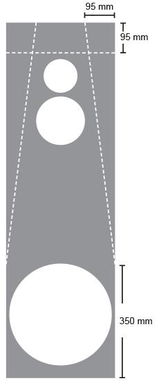Viistous alkaa 350mm korkeudelta ja yläkulmista otetaan 95mm joka suuntaan. Jos käytät viistouksiin 6,5mm vaneria, sahaa 6,5mm x 1,4 = noin 10mm päästä lopullisesta linjasta eli tee merkit 105mm päähän kotelon reunoista.