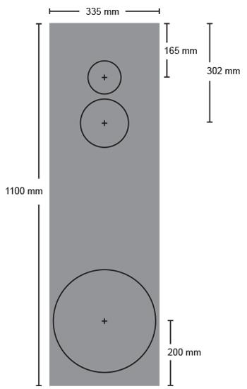 Kolmitieklassikon etu- ja takalevy ovat 335 x 1100 -millisiä ja näiden väliin jäävät kyljet samankokoisia. Ylä- ja alalevytkin ovat samaa 335 milliä leveää tavaraa, toinen mitta riippuu käytettävästä materiaalivahvuudesta.